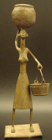 Brass Benin City Female Figure #569 | Figures | Metal — Deco Art Africa - Decorative African Art - Ethnic Tribal Art - Art Deco