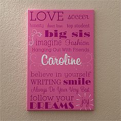 This personalized Kid's canvas art is so cute! I love the fonts and how you can personalize it to say anything you want! Great for decorating little girl or boy's room!