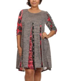 Another great find on #zulily! Gray Arabesque-Panel Shift Dress - Plus #zulilyfinds