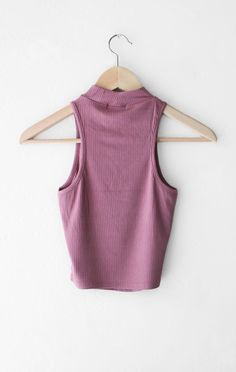 NYCT Clothing High Neck Ribbed Crop Top