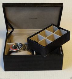 nwt calvin klein men s black jewelry box for watches cufflinks calvin klein men s jewelry box compartment for 2 watches jewelry cuff links