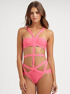 Get your neon on in this cutout suit.  #herveleger #neon