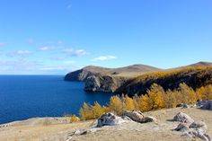 This was an overlook we had while traveling to the North end of Olkhon Island. the third largest lake bound island in the world on Lake Baikal - Russia Lake Baikal Russia, Blue Skies, Art Reference, Planets, Third, Road Trip, Traveling, Sky, Island