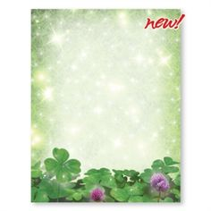 Shimmering Clover Border Papers for St. Patrick''s Day printing! | PaperDirect