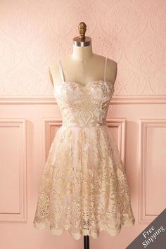 Robe bustier rose pâle tulle, broderies dorées - Light pink tulle bustier dress, golden embroideries