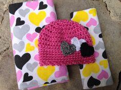 Baby girl heart blanket baby blanket set by CozyCreationsbyJamie
