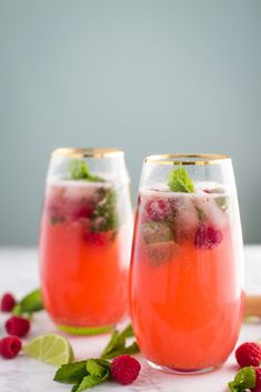 Raspberry Virgin Mojito- these mojitos are completely alcohol free but still delicious and perfect for a fun and refreshing summer drink!