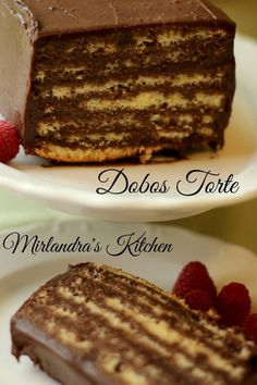 The history of Dobos Torte goes back to the 1800s and there are more than 100 versions of the recipe in use today.  My version is delicious but simple without many of the painstaking steps that most versions require.  The sponge cake is held together by r