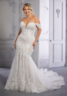 This net over sequined Chantilly lace mermaid wedding dress features a sweetheart bodice, with detachable, off-the-shoulder sleeves, and a sheer back. Lace Mermaid Wedding Dress, Bridal Wedding Dresses, Designer Wedding Dresses, Mori Lee Bridal, Chantilly Lace, Plus Size Wedding, Evening Gowns, Perfect Wedding, Getting Married
