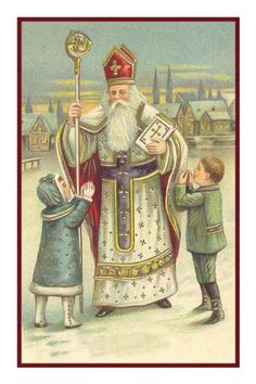 Counted Needlepoint Chart Victorian Religious Father Christmas Santa with Small Children