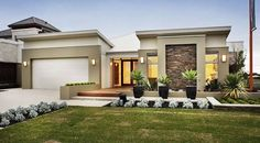 Single Story Home Plans, Floor Plans, Home Design. See more about small house plans, contemporary home plans and modern house plans. Flat Roof House, House With Porch, Facade House, Home Design, Modern House Design, Single Floor House Design, Modern House Facades, Plan Design, Design Ideas