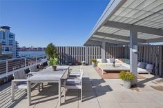 This Brooklyn home has a large private terrace overlooking East River, New York City skyline and Williamsburg Bridge. We are very inspired.