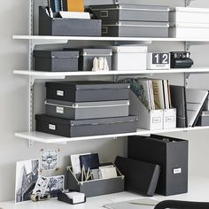Sure, you COULD use all those different storage boxes + accessories you have to organize your desk, shelves and workspace. OR, you could consider our Frisco Desk Collection to get this look. #thisorthat #workspaces