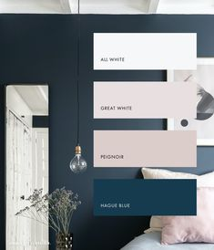 Bedroom Inspo, Bedroom Colors, Home Bedroom, Bedroom Decor, Bedroom With Ensuite, Master Bedroom, Midnight Blue Bedroom, Modern Home Offices, Modern Small Bathrooms