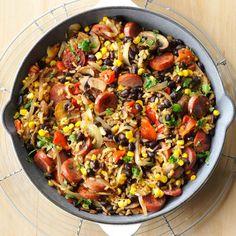 Confetti Kielbasa Skillet Recipe -Here's one of my husband's favorite dishes. When it's in season, substitute fresh corn for frozen. Add a dash of cayenne pepper if you like a little heat. —Sheila Gomez, Shawnee, Kansas