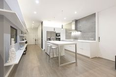 #contemporary #white #kitchen   #wood #floor   #grey