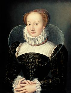 "François Clouet - Portrait of a Lady. A black and white print has the following text 'Francois Clouet, ""Marguerite de Valois (1553-1615) Queen of Navarre, known as Queen Margot, aged 17, 1570"", and also has '1570' in the top right hand corner."