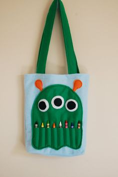 Monster crayon and coloring book bag