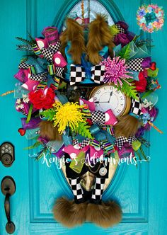 Mad Hatter Wreath March Hare Wreath Easter by KenziesAdoornments