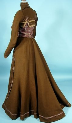 1900 Victorian Gown / Gibson Era Brown Wool and Paisley Silk 2-piece Gown