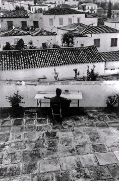 "hellasinhabitants: "" Leonard Cohen playing guitar on the terrace of his house on Hydra. Greece 1982 by Dominique Issermann. """