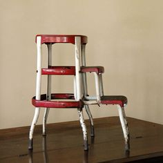 Vintage Industrial Step Stool // Red Slider by on Etsy & Vintage stool - step stool - kitchen stool - Cosco - chair - pull ... islam-shia.org