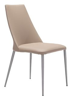 Modern Contemporary Dining Chair ( Set of 2 ), Beige, Faux Leather