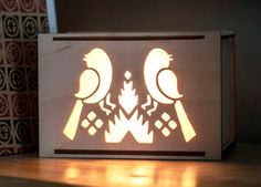 UNCAGED Wooden Geometric Birds Desk Box Accent Lamp by portrhombus, $28.00