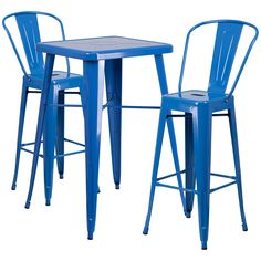 23.75-Inch Square Metal Indoor-Outdoor Bar Table Set with 2 Barstools