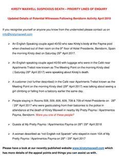 "KIRSTYMAXWELL on Twitter: ""Can you help #KirstyMaxwell family regarding these appeal points? #Benidorm #benidormlive #Spain @costablancanews @euroweeklynews @telecincoes @BenidormGazette @benidormhoteles @benidormtourist @BenidormToday… https://t.co/T8UqMc59yx"""