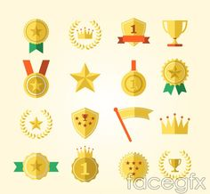 Beautiful medal icons vector