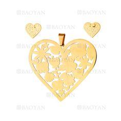 juego colgante y aretes de corazon especial en acero dorado inoxidable -SSSTG184131