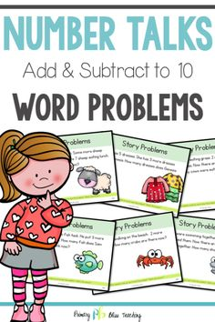 Number Talks - Word Problems {Add and Subtract) Classroom and Distance Learning First Grade Words, First Grade Lessons, Teaching First Grade, First Grade Teachers, First Grade Math, Math Lessons, Math Fact Practice, Math Talk, Math Fact Fluency