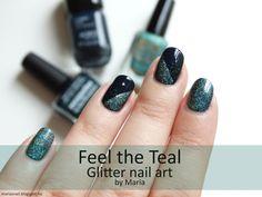 Maria's nail: 406. Feel the Teal - Glitter nail art