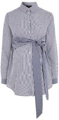 Shop Now - >  https://api.shopstyle.com/action/apiVisitRetailer?id=629413341&pid=uid6996-25233114-59 Women's Topshop Tie Front Stripe Maternity Shirt  ...