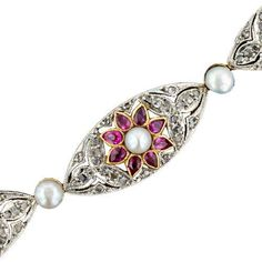 French Belle Epoque Diamond, Ruby and Natural Pearl Bracelet ...