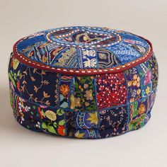 One of my favorite discoveries at WorldMarket.com: Small Blue Pouf; living room or Meditation Room