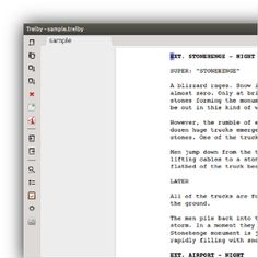 Trelby is a free, multiplatform, feature-rich screenwriting program!  Trelby is simple, fast and elegantly laid out to make screenwriting simple. It is infinitely configurable.  Trelby is free and Open Source software, that you can contribute to.