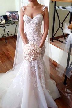 Tulle Spaghetti-Strap Sleeveless Applique Long Mermaid Wedding Dresses