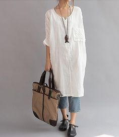 "【Fabric】 Cotton 【Color】 White 【Size】 Without limiting Shoulder Shoulder + Sleeve 49cm / 19 "" Bust 118cm/ 46"" Waist 120cm/ 47"" Length 95cm/ 37"" Hem 120cm/47"" Have any qu... #clothing #women #dress"