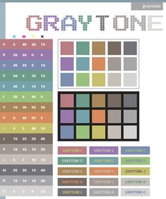 Gray tone color schemes, color combinations, color palettes for print (CMYK) and Web (RGB + HTML) Colour Pallete, Colour Schemes, Color Combinations, Color Palettes, Color Tones, Gray Color, Paint Paint, Color Harmony, Creative Colour