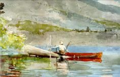 Someday I would love to own this painting: The Red Canoe, by Winslow Homer... however, I found a very similar feeling painting at a local consignment shop for a really good deal, so I am pretty pleased!