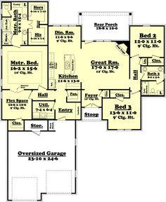 Ranch Style House Plan - 3 Beds 2 Baths 2000 Sq/Ft Plan #430-73 Floor Plan - Main Floor Plan - Houseplans.com