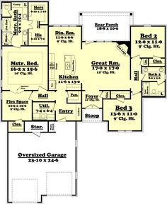 Ranch Style House Plan - 3 Beds 2 Baths 2000 Sq/Ft Plan #430-73 Floor Plan - Main Floor Plan - Houseplans.com