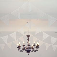 Gorgeous white lace wedding bunting, the perfect white wedding decoration! Shown in the photos at Brinkburn Priory #bunting 'wedding #white