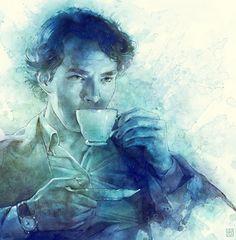 """""""Tea""""  --   Sherlock is FINALLY BACK!  -  Sherlock drinks tea...(via teacoffeebooks)"""