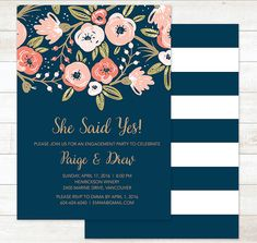 Engagement Party Invitation She Said Yes by pinkdahliaprintable