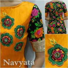 Plain n printed Rae silk kurti with handwork on yoke. For further details contact us on + 919892398900, + 919930413660