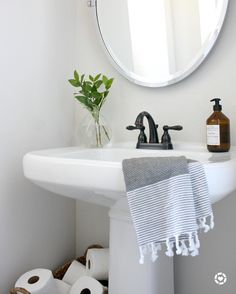 Genial Crazy Wonderful: Our Powder Room   I Like The Idea Of An Open Basket Of  Oilet Paper For The Half Bath. And The Vase Of Greens And Oval Mirror Look  Good With ...