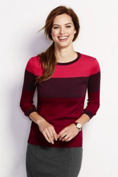 Women's 3/4-sleeve Supima Colorblock Crew Sweater from Lands' EndSize S